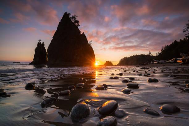 sunset at rialto beach - wybrzeże północno zachodnie pacyfiku zdjęcia i obrazy z banku zdjęć
