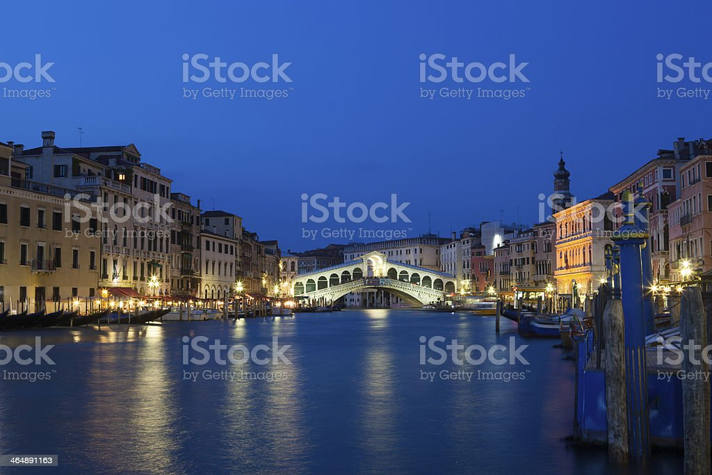 Sunset at Rialto Bridge, Venice, Italy royalty-free stock photo