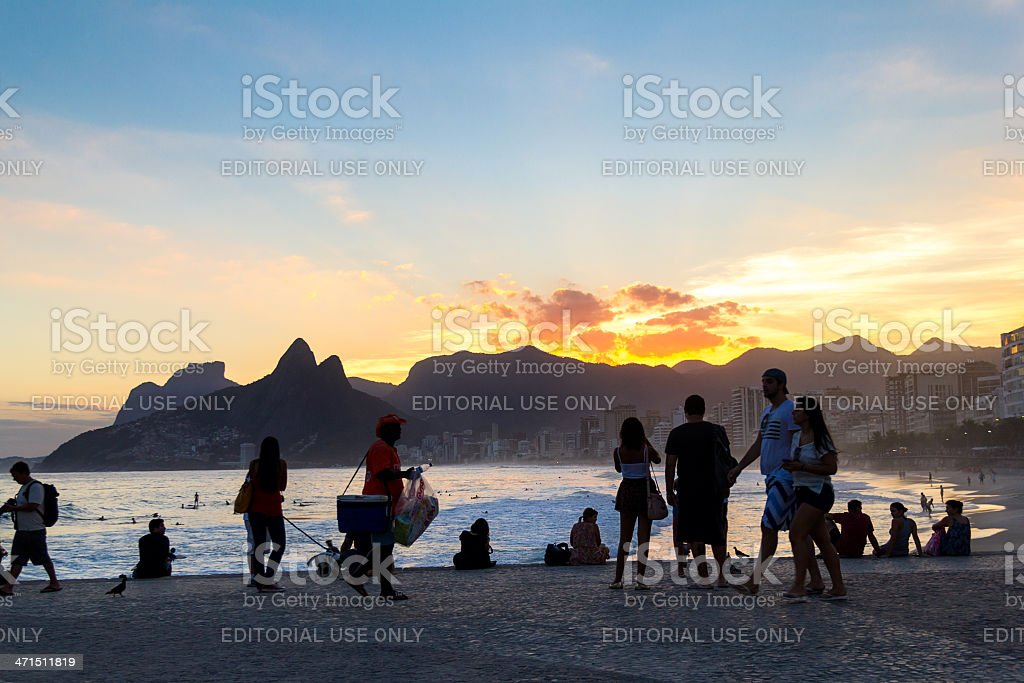 Sunset at Rio de Janeiro stock photo