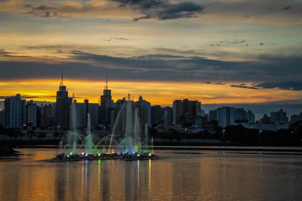 Sunset at Rio Preto's dam, and a color founain, São José do Rio Preto, São Paulo