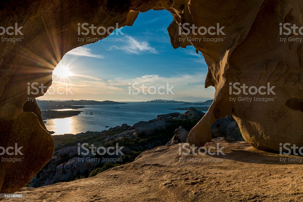 Sunset at rock formation stock photo