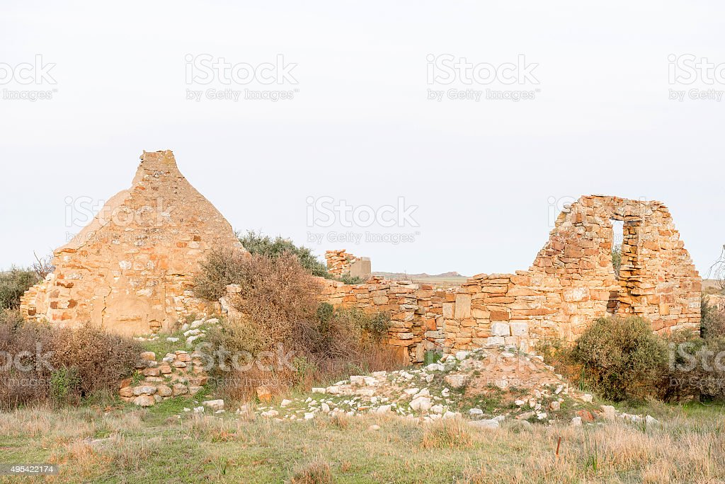 Sunset at ruins at Groenrivier farm at Nieuwoudtville stock photo