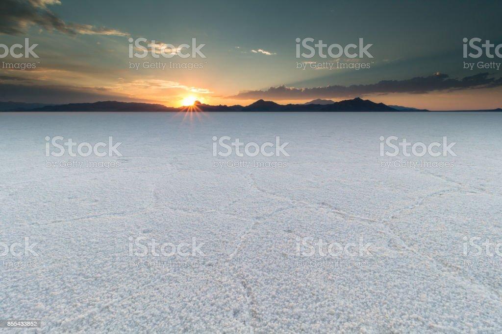 Sunset at salt flats stock photo