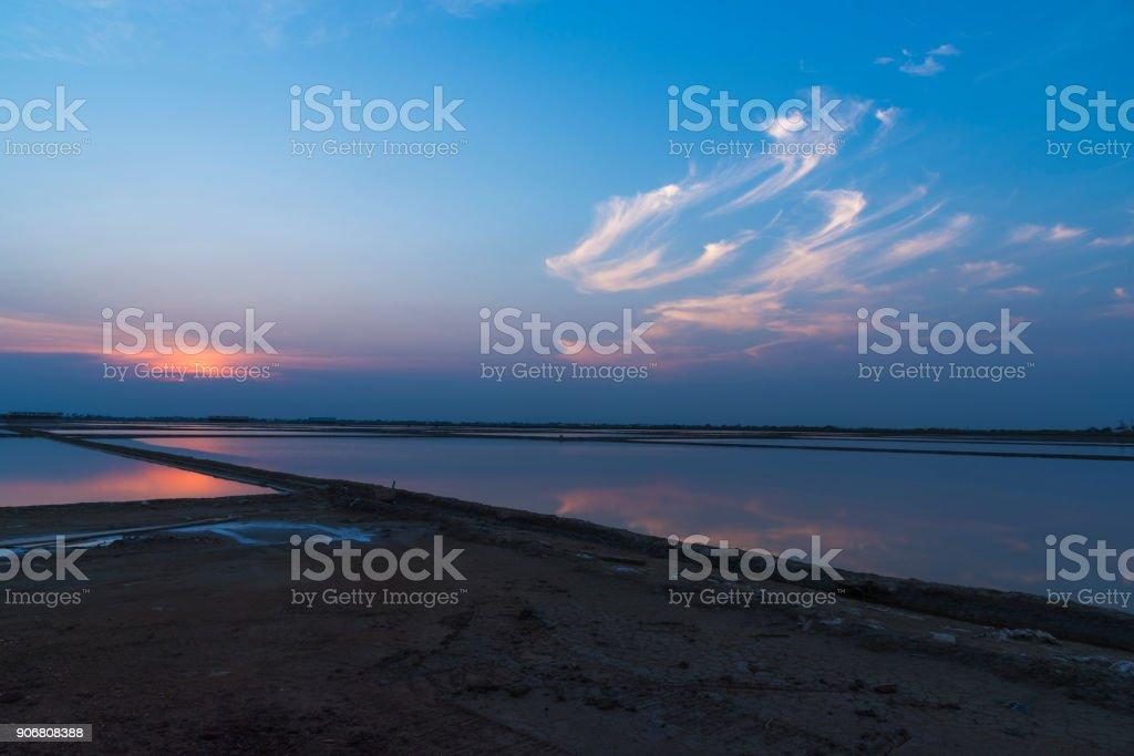 Sunset at salt pan stock photo