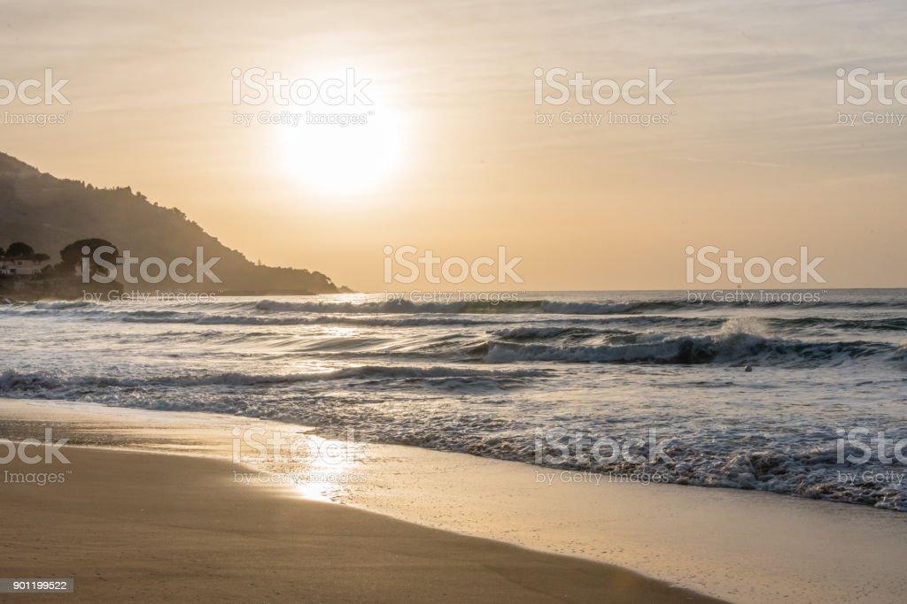 Sunset at San Marco di Castellabate, Italy stock photo