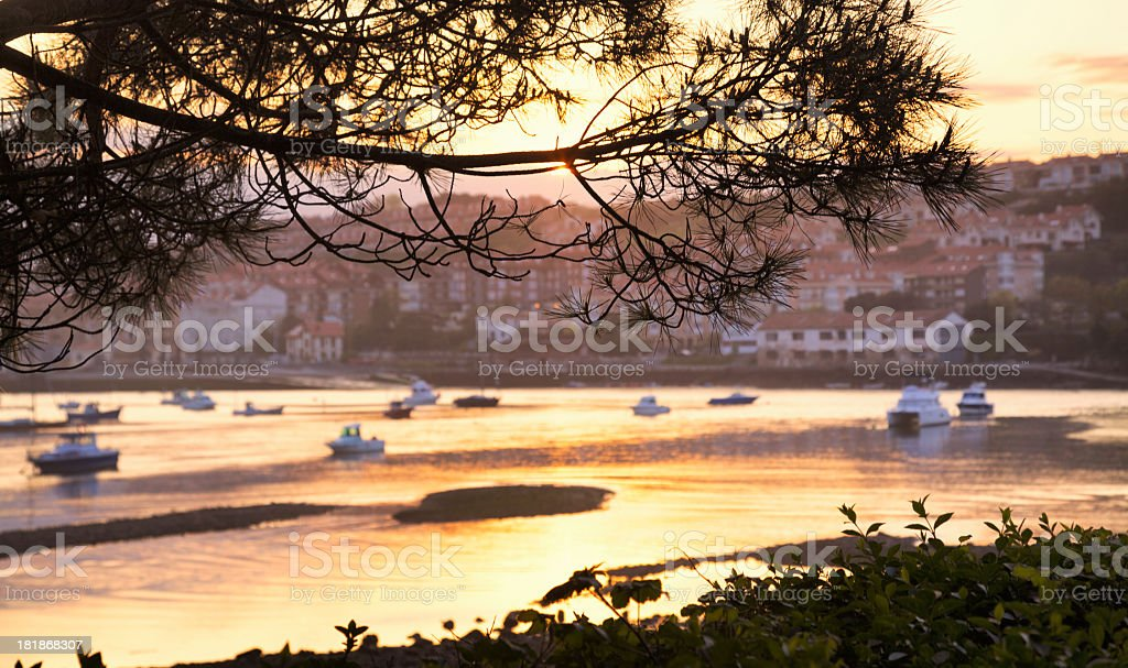 Sunset at San Vicente de la Barquera, Cantabria, Spain royalty-free stock photo