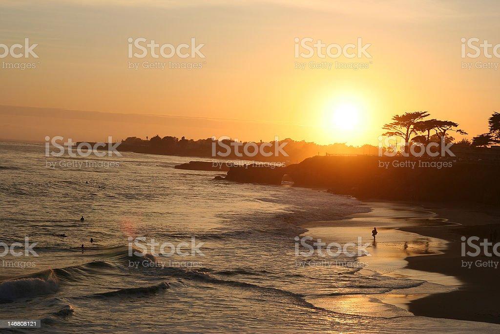 Sunset at Santa Cruz stock photo