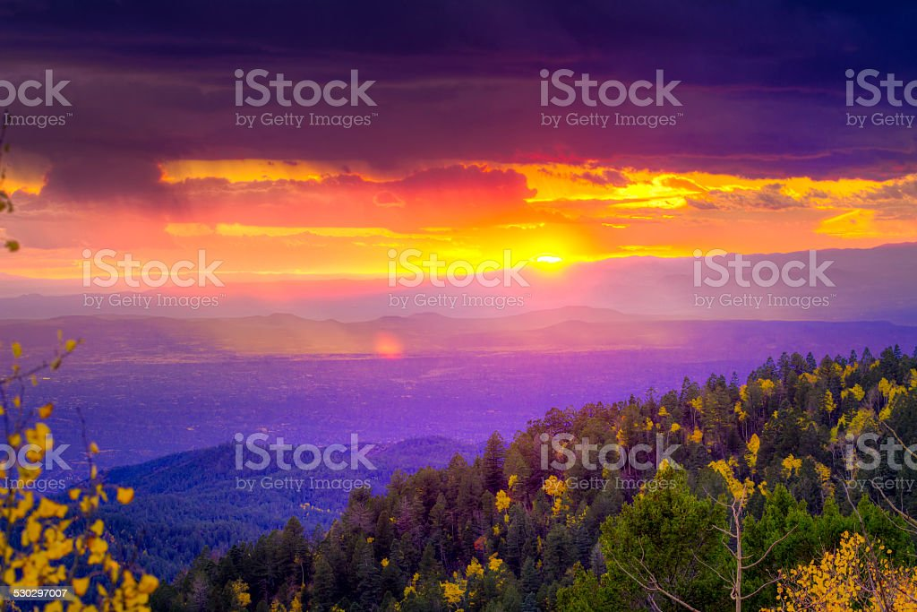 Sunset at Santa Fe Ski Basin stock photo