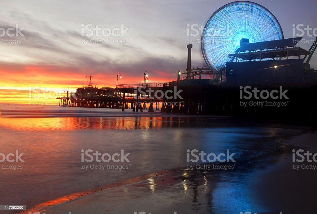 Sunset at Santa Monica Pier in California stock photo