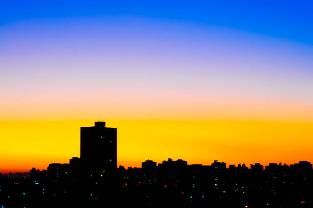 Sunset at Sao Paulo city stock photo
