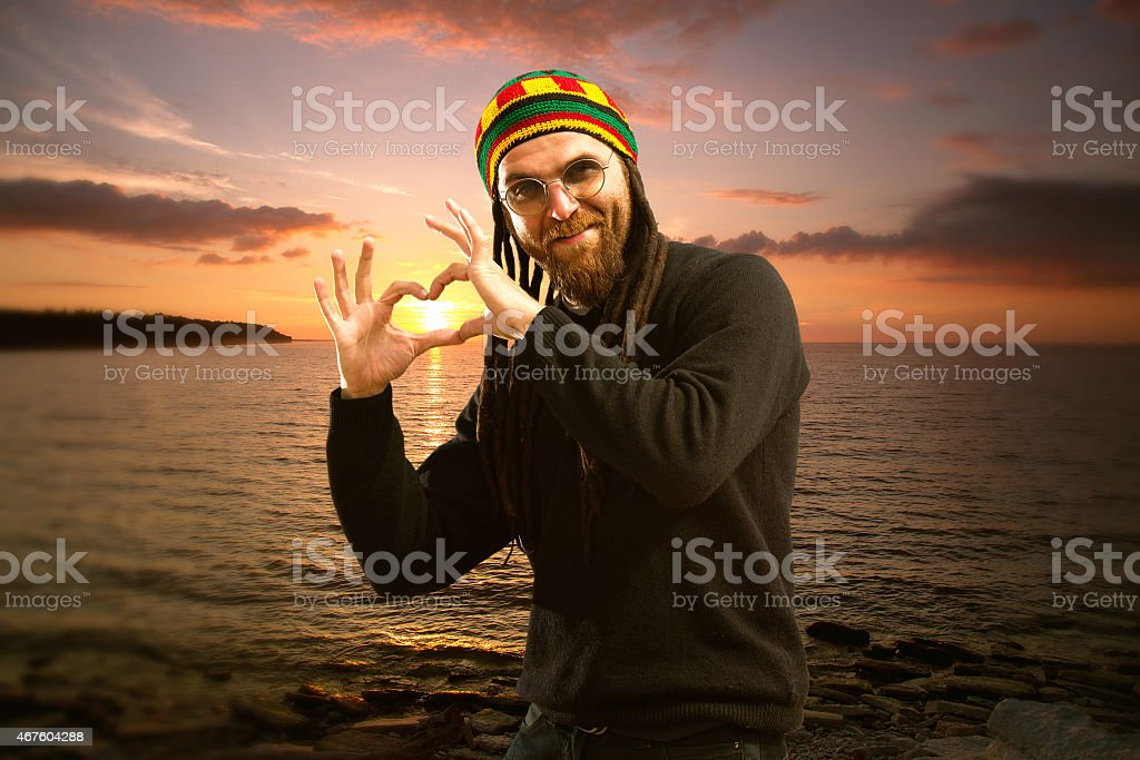 sunset at sea. stock photo