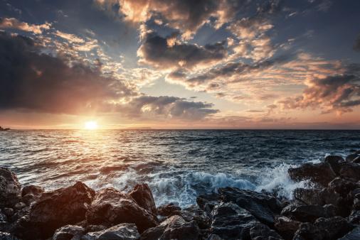 Sunset on sea. Stock photo