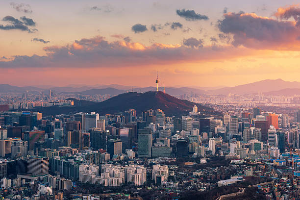 Sunset at Seoul City Skyline,South Korea - foto de stock