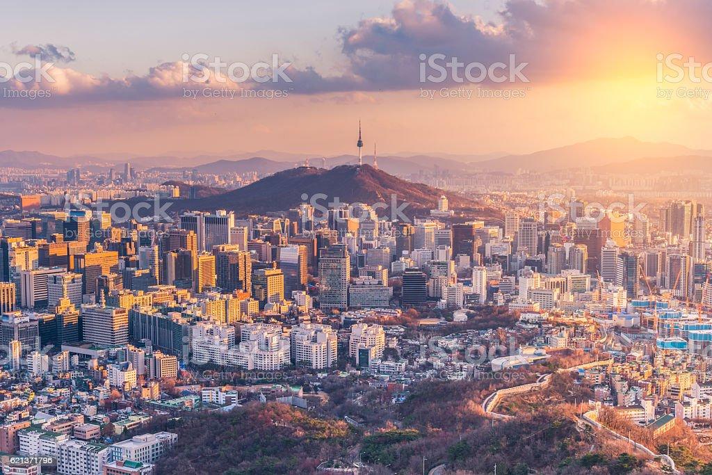 Sunset at Seoul City Skyline,South Korea. Sunset at Seoul City Skyline,South Korea Architecture Stock Photo