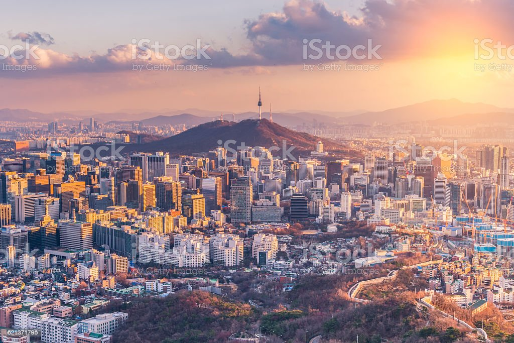 Sunset at Seoul City Skyline,South Korea. stock photo