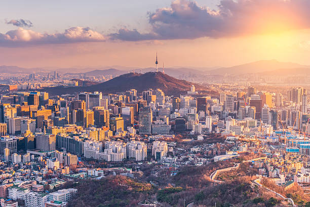 Sunset at Seoul City Skyline,South Korea. - foto de stock