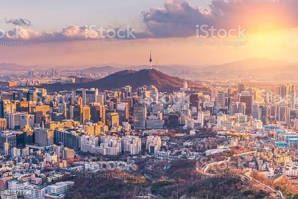Sunset At Seoul City Skylinesouth Korea Stock Photo - Download Image Now