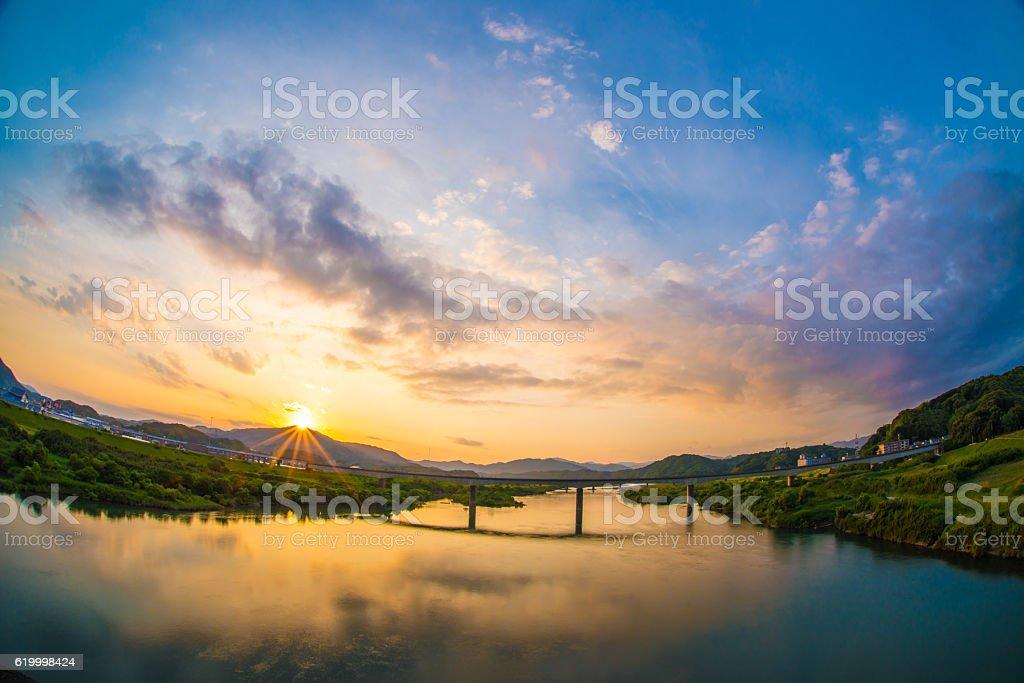 Sunset at Shimantogawa-river stock photo