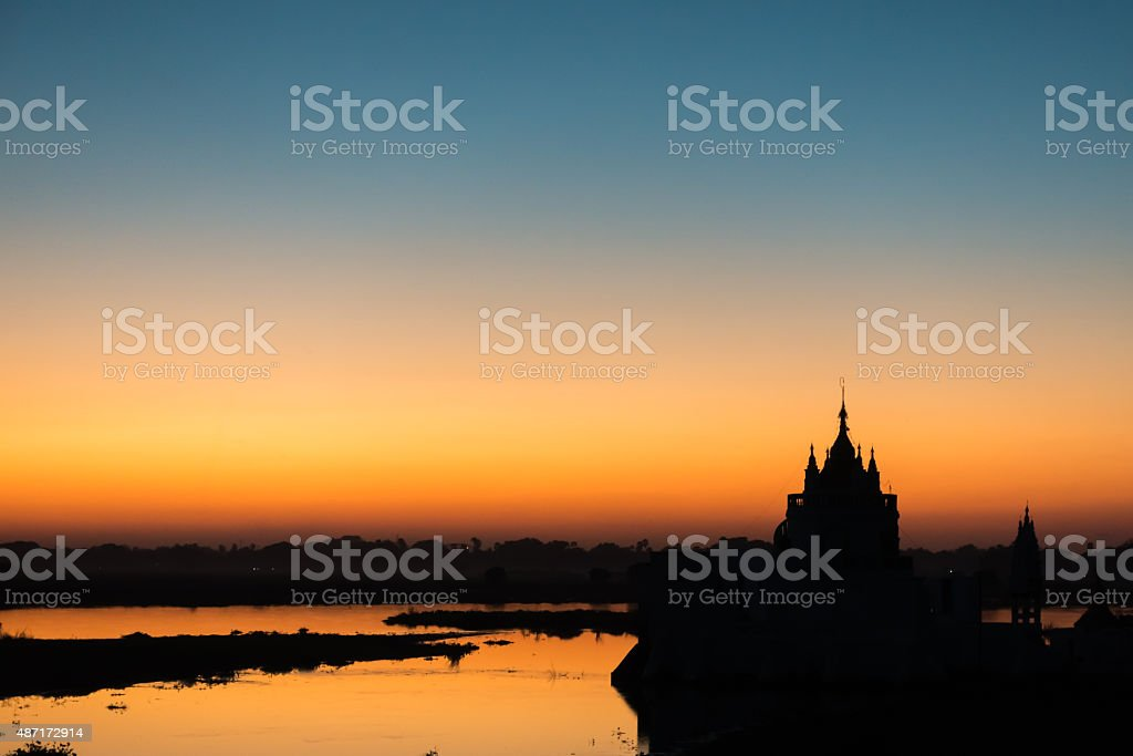 Sunset at Shwe Modeptaw Pagoda stock photo