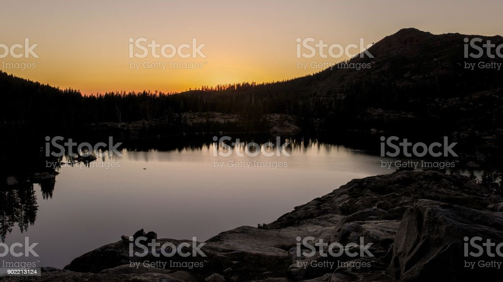 Sunset at Sierra Nevadas back country stock photo