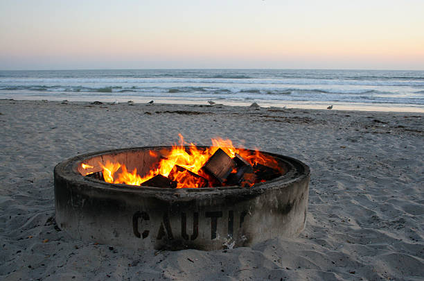 Sunset at Silver Strand State Beach stock photo - Royalty Free Beach Firepit Pictures, Images And Stock Photos - IStock