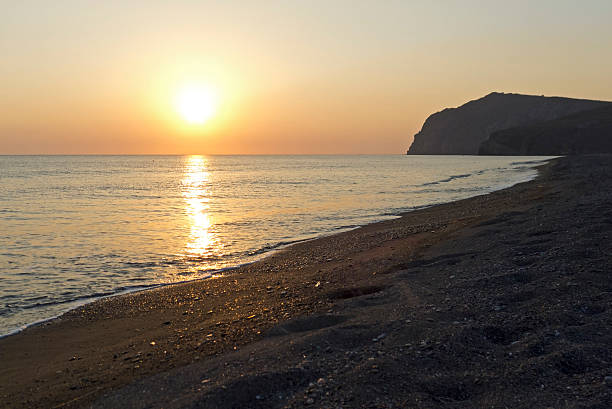 sunset at Skala Eressos stock photo