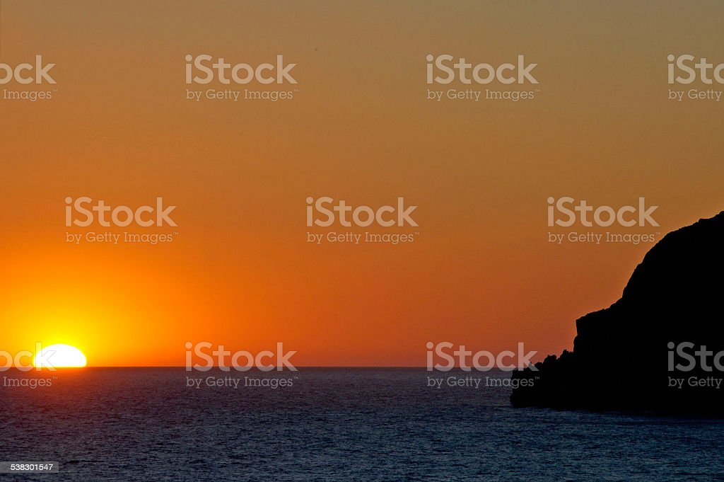 sunset at Skala Eressos royalty-free stock photo