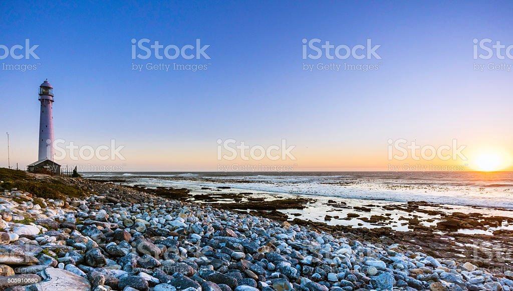 Sunset at Slangkop lighthouse stock photo