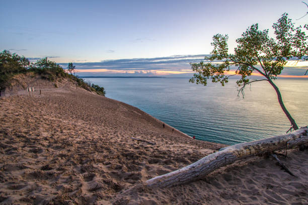 Sunset At Sleeping Bear Dunes National Lakeshore stock photo