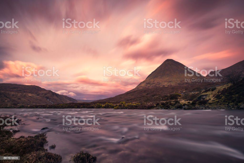 Sunset at Sligachan, Isle of Skye, Scotland stock photo