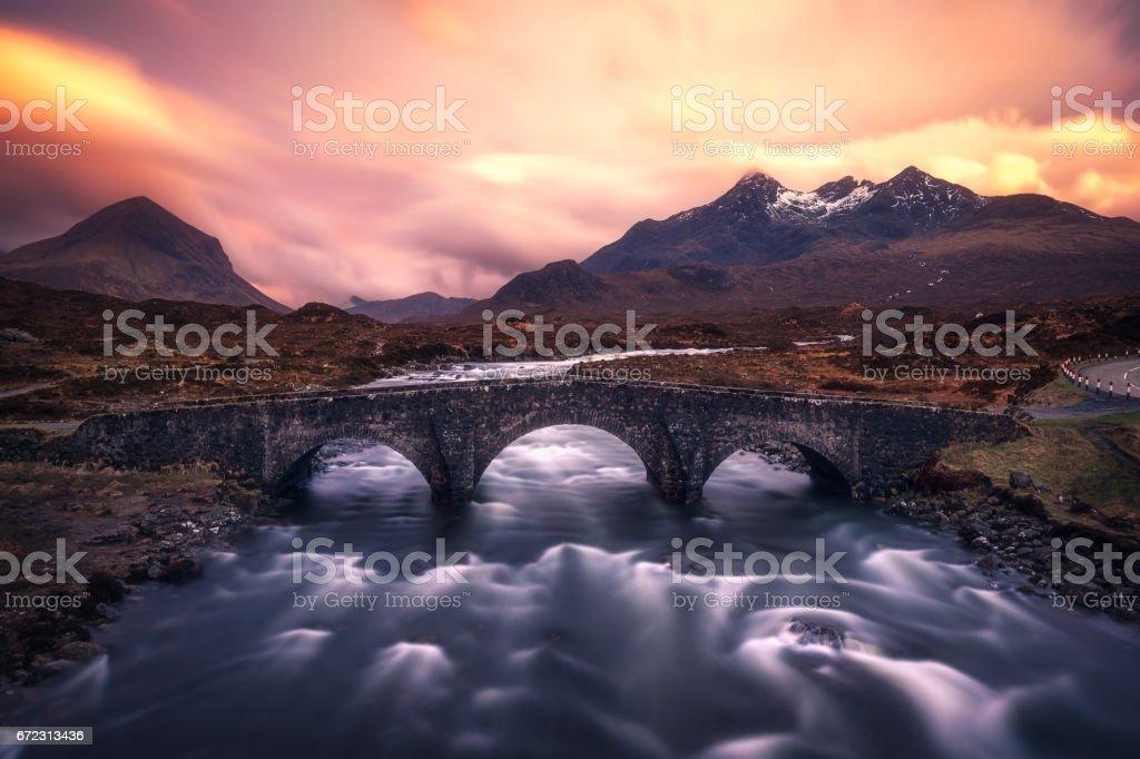 Sunset at Sligachan Old Bridge, Isle of Skye, Scotland stock photo