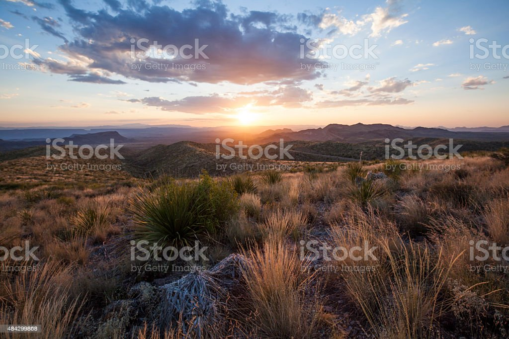 Sunset at Sotol Vista Overlook stock photo