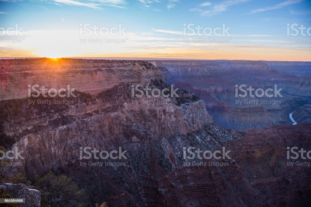 Sunset at south rim Grand Canyon stock photo