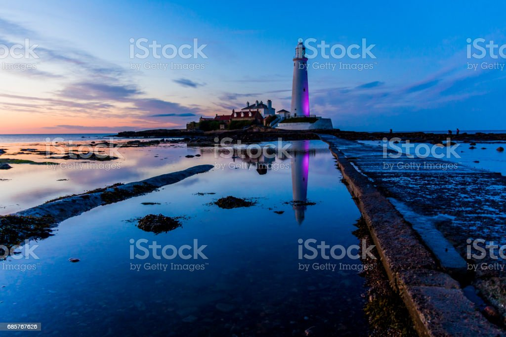 Sunset at St Mary's Lighthouse stock photo