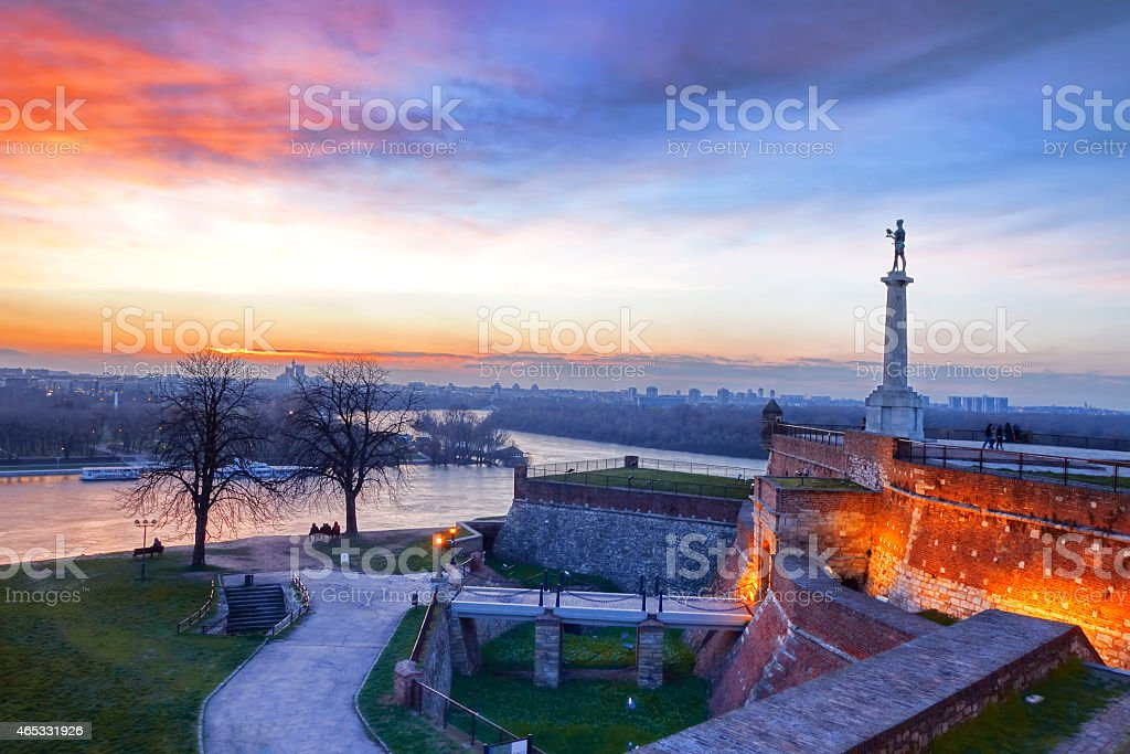 Sunset at Statue of Victory in Belgrade, Serbia stock photo