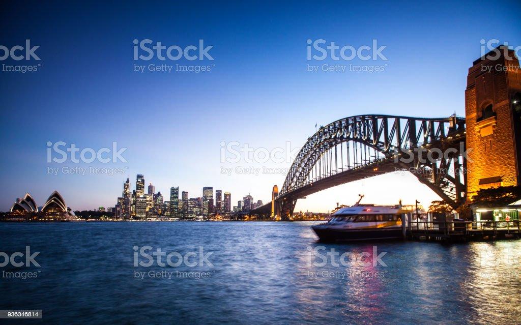 Sunset At Sydney Harbour, Jeffrey Street Wharf, Kirribilli stock photo