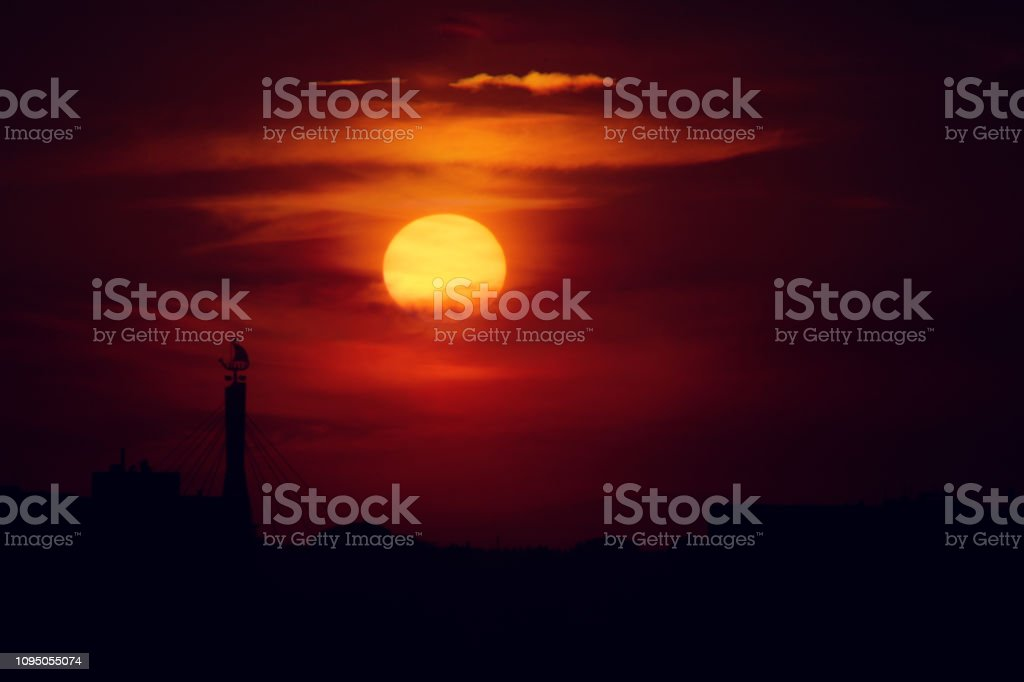 Sunset at Tartu, Estonia stock photo