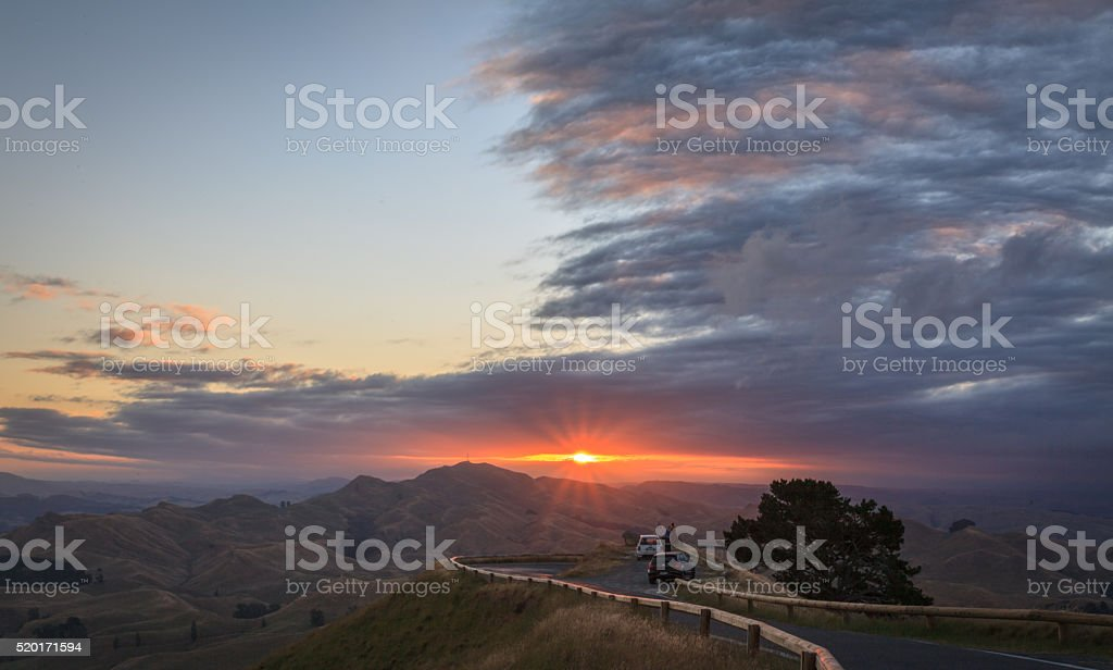 sunset at Te Mata stock photo