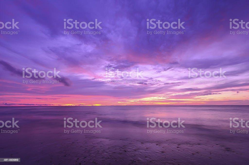 Sunset at Thap-Tawan beach Phang-Nga province stock photo