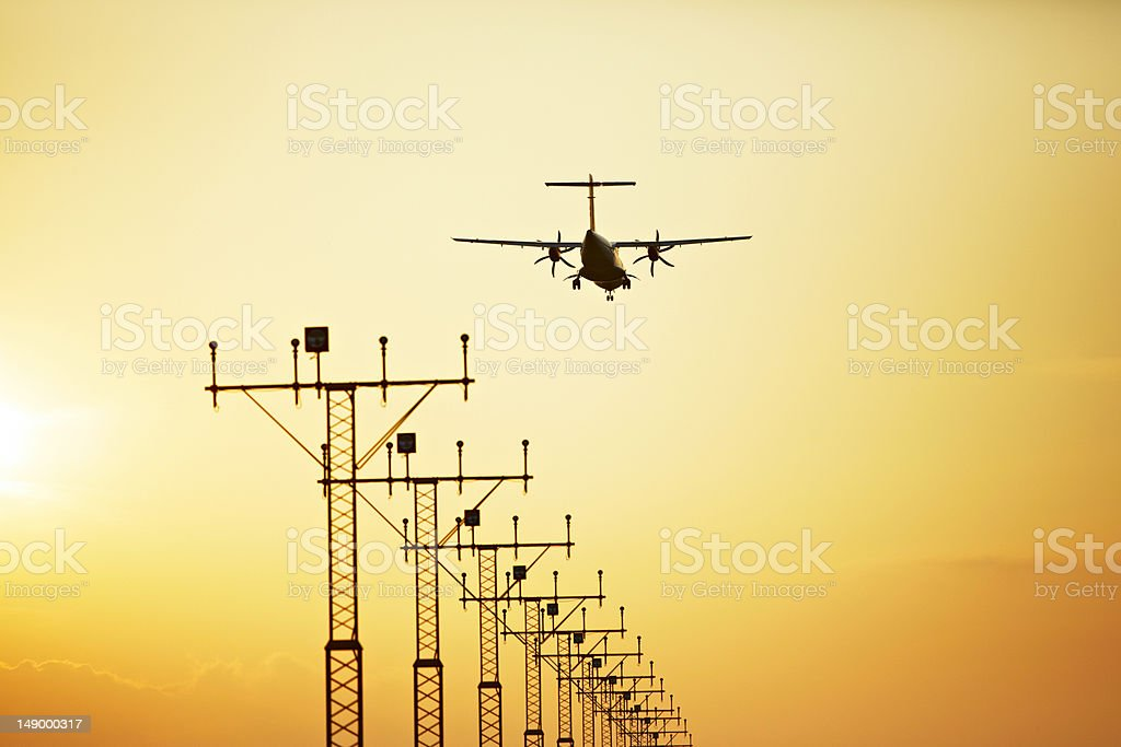 Sunset at the airport royalty-free stock photo