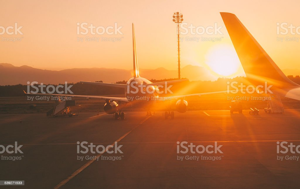 Sunset at the airport stock photo