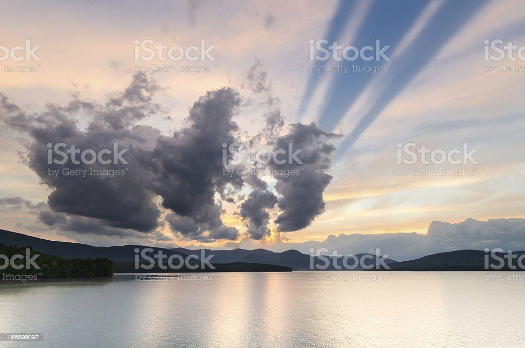 Sunset at the Ashokan Reservoir, NYC water supply. stock photo