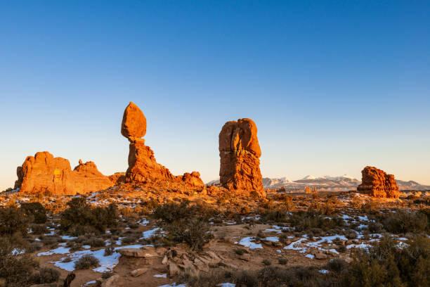Sunset at the Balanced Rock in Utah stock photo