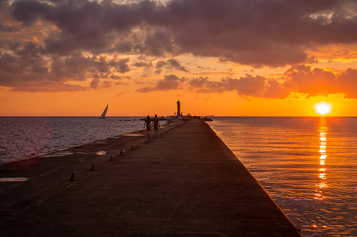 Sunset at the Baltic sea in Riga, Latvia