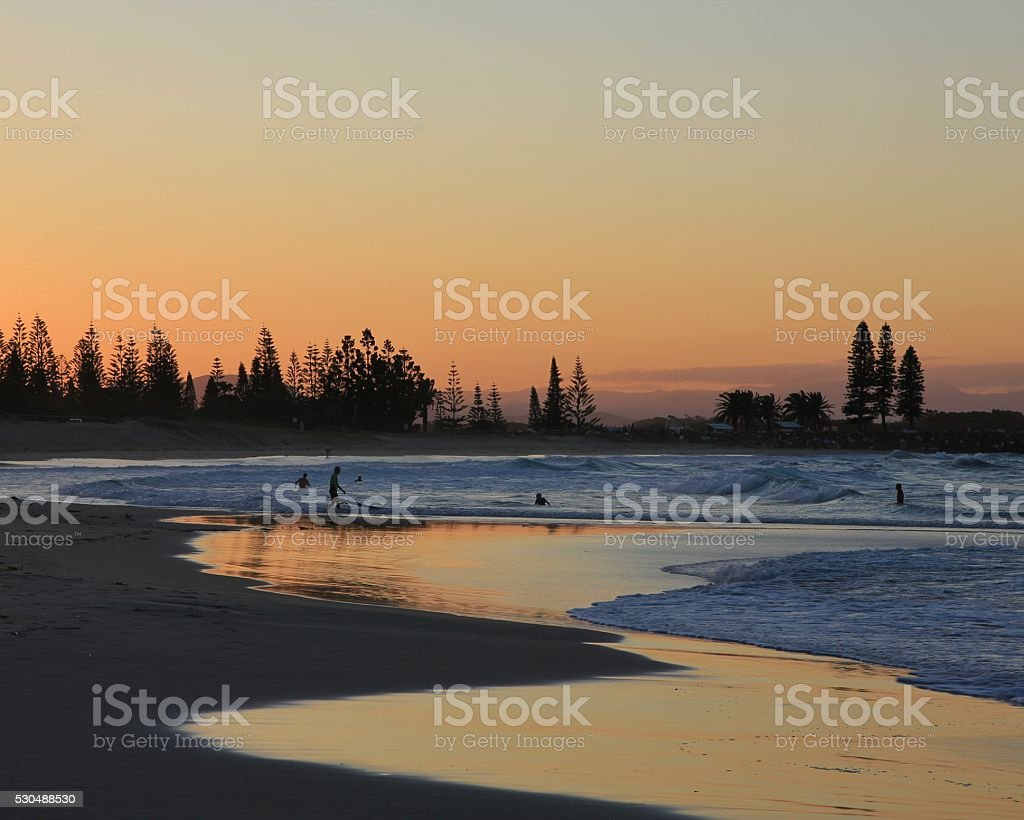 Sunset at the beach in Port Macquarie stock photo