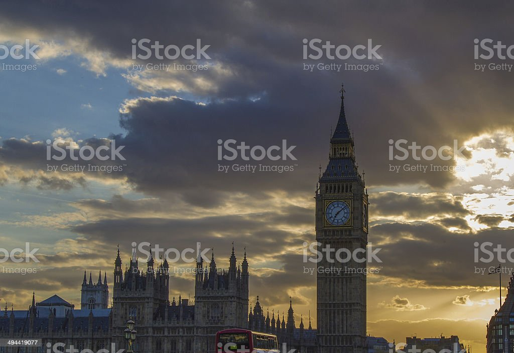 Sunset at the big ben in London stock photo
