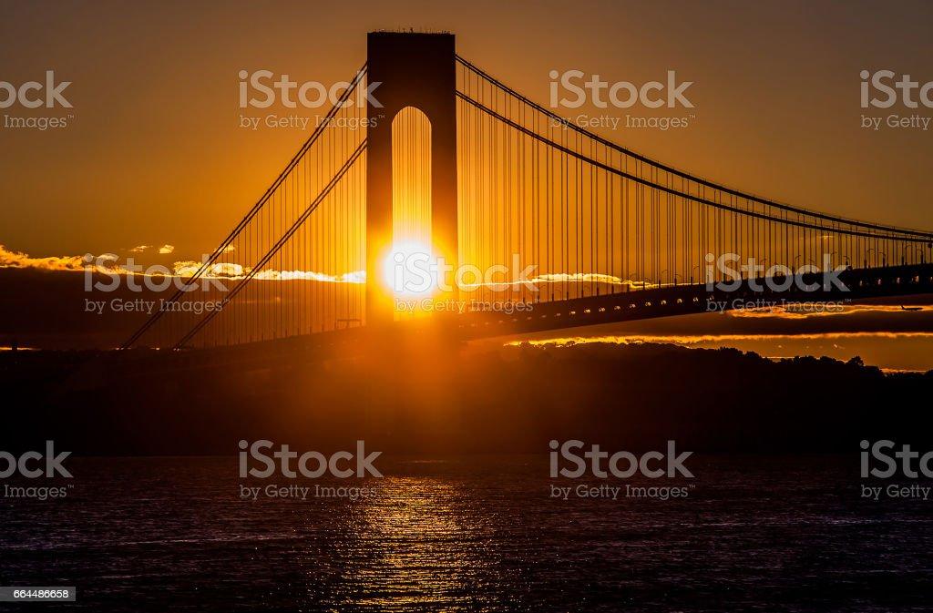 Sunset at the bridge in New York stock photo