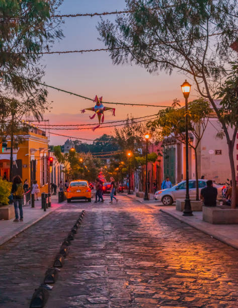 Sunset at the center of Oaxaca stock photo