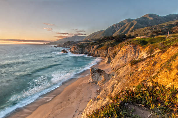 Sunset at the Coast at Highway 1 in California stock photo