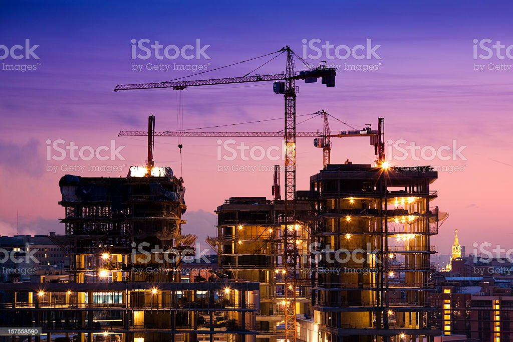 Sunset at the Construction Site stock photo